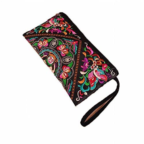 LIWEISDSDFS Handtasche Satin Schmetterling Nationales Paket Vintage Bestickte Kleine Tasche Clutch Bag Geldbörse Handytasche -