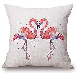 """Elliot _ tejo cuadrado Cute Funny lino y algodón manta decorativa Funda de almohada Funda para cojín de pájaro Flamingo 18""""18"""""""