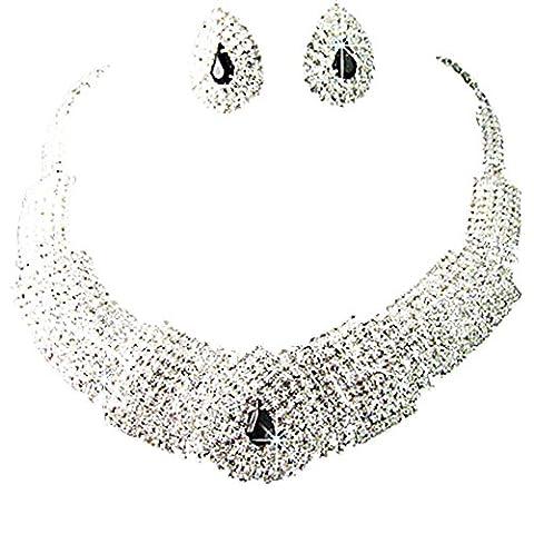 Sanwood Kristall-Halskette, schwarzer Kristall, Schmuck-Set mit