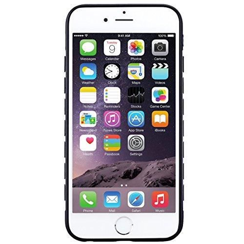 Coque iPhone 6S. Housse iPhone 6 Noir + Argent Cadre Souple TPU Back Cover Texture métallique, GrandEver Etui Silicone Souple Back Cover Case Caoutchouc Rubber Gel Cases Haute qualité Flexible Soft Ba Argent
