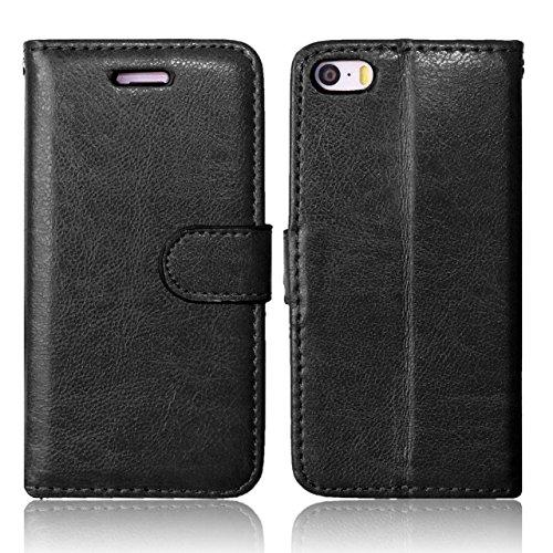 iPhone Case Cover Premium PU-lederner Fall-fester Farben-Mappen-Standplatz-Fall-Silikon-Abdeckung für iPhone 5S 5 SE ( Color : Blue , Size : IPhone 5S SE ) Black