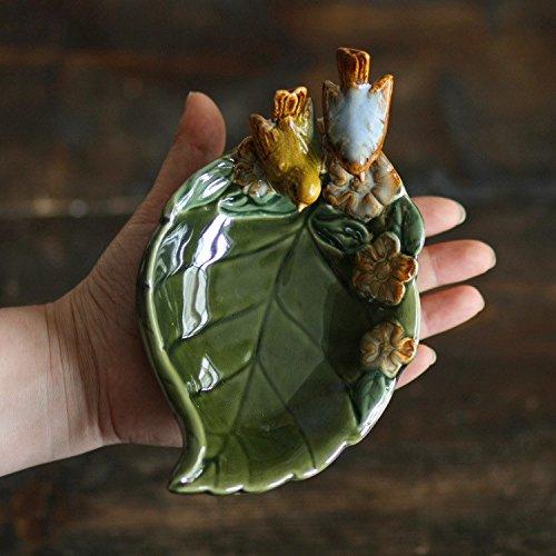 GTVERNH-décoration céramique décoration céramique glaçure Artisanat Garden Oiseau quitte Le Bassin clés cendrier boîte à Savon 18 * 10 * 5 cm