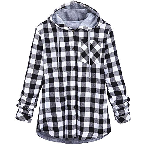 KUDICO Damen Kapuzenjacke Sale Clearance Plaid Button langärmeliges Cardigan Jacket Bluse Fell Outwear, Angebote! (Grau, EU-38/CN-M)