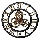 GUAGUA Couper l'horloge murale en fer forgé de style continental (bronze) , l...