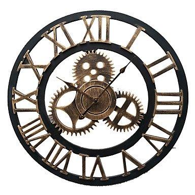 GUAGUA Couper l'horloge murale en fer forgé de style continental (bronze) , l