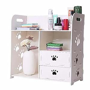 Jintu Petit meuble de rangement en bois pour maquillage avec 2tiroirs et 3compartiments 38cm Blanc
