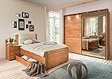 lifestyle4living Schlafzimmer, Schlafzimmerset, Schlafzimmermöbel, komplett, Komplettset, Schlafzimmereinrichtung, Schwebetüren, Erle, Teilmassiv, Kunstleder, Spiegel