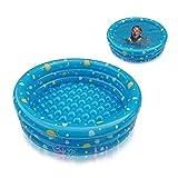 AOLVO Planschbecken für Kinder Baby, Klein Planschbecken Babypool Swimmingpool, Kinderpool Frame | Mini 3 Ring Pool, 61 X 22 cm, Wasserspielcenter Ozean Ring - Blau/Grün
