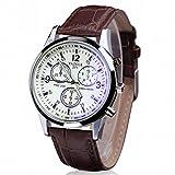 Sonnena Männer Armbanduhren, Herren Luxuriös Falsch Lederband Armbanduhren Klassik Business Blau Herrenuhr Analoge Quarz Handgelenk Uhr Mode Geschenk (Braun)