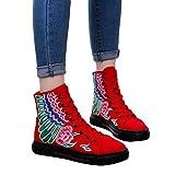 OSYARD Damen Schnürstiefelett Kurze Booties Stiefeletten Vintage Frauen Freizeit Bestickte Shoes Flache Schuhe Dicken Boden Stiefel Wildleder Boots(245/40, Rot)