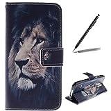 trumpshop Smartphone Schutz Schale Tasche Handyhülle für Samsung Galaxy S5 Mini Tier-Reihe mit Löwe PU Lederhülle Flip Etui Hülle SchutzHüllen Standfunktion Kredit Kartenfächer