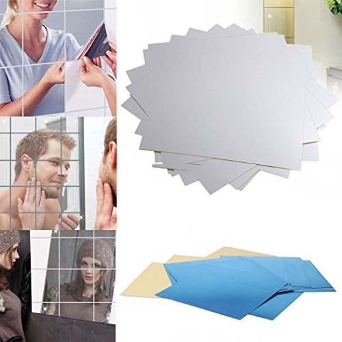 Ardisle - Specchio retro autoadesivo piastrelle bagno, quadrata, adesivi da parete mosaico 9 pezzi