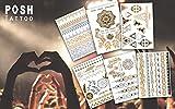 Glitzer Festival Tattoos | Klebe Tattoo wiederverschließbare Verpackung | Fake Tattoo wasserfest | 70 Gold und Silber Flash Tattoo Motive