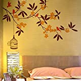 #10: Decals Design 'Branch Flowers and Cage' Wall Sticker (PVC Vinyl, 90 cm x 60 cm)
