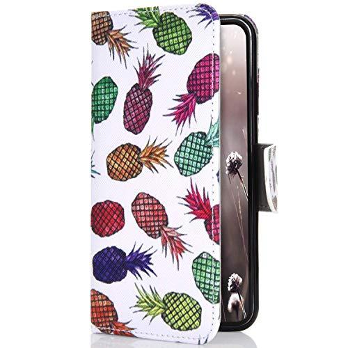 Uposao Kompatibel mit Huawei P30 Handyhülle 3D Hülle Bunt Retro Muster Muster Klapphülle Leder Flip Schutzhülle Brieftasche Handytasche Cover Stand Kartenfächer Magnet,Ananas