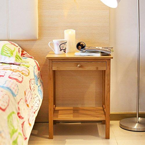 HOMFA Mesitas de Noche de Bambú Juego de 2 Mesita auxiliar con cajón para Dormitorio Salón y Comedor 40*35*51.5cm