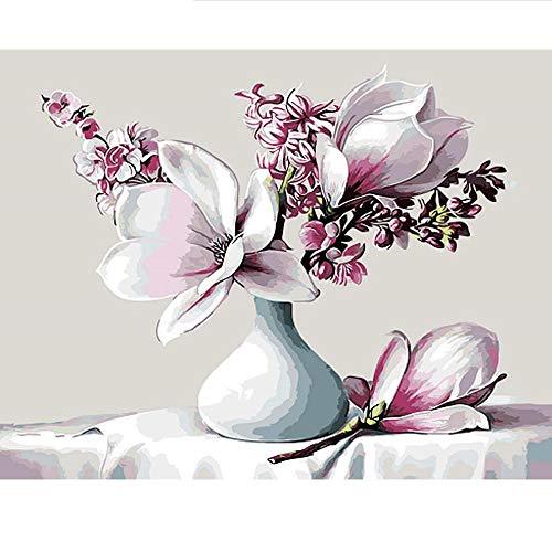 APCHYWELL Abstrakte Vintage Blume Digitale Malerei Leinwand Mit Pinsel Vorgedruckt Geschenk Kunst Büro Wohnzimmer Bar Wohnkultur Kit DIY,40x50cm -