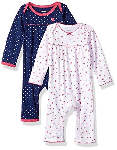CARTER'S 2 Spieler Einteiler für Mädchen Baumwolle 56/62 Baby Sommer Schlafanzug Kleidung 2 Teile (newborn, blau/weiss) (Baumwolle Kinder Carters)