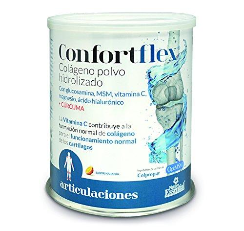 Confortflex colágeno polvo hidrolizado con colágeno, magnesio, glucosamina, MSM, silicio, vitamina C, zinc, ácido hialurónico, vitamina B-3, vitaminaB-5, vitamina B-6 y cúrcuma– 390 gramos, 30 días.