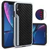 OCYCLONE iPhone XR Hülle, iPhone XR Case, Outdoor Stossfest Schutzhülle mit Carbon Leder Design...