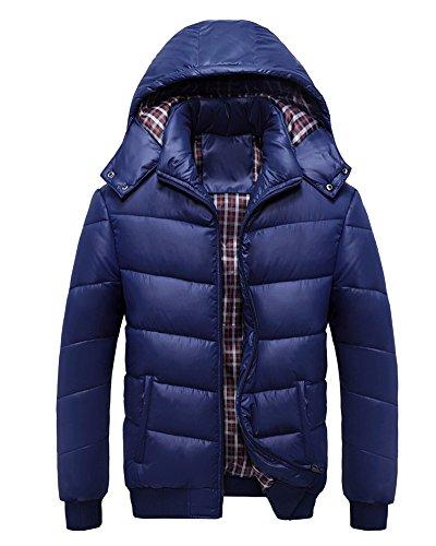 LaoZan Herren Beiläufig Wintermantel Jacke Parka-Mantel mit Kapuze Winter Steppjacke Dunkelblau