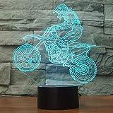 Creativo 3D Acrobazia Moto Luce Notturna 7 Colori Mutevoli USB Potere Toccare Cambiare Illusione Ottica Lampada Arredamento Lampada LED Lampada da Tavolo Bambini Brithday Natale Regalo