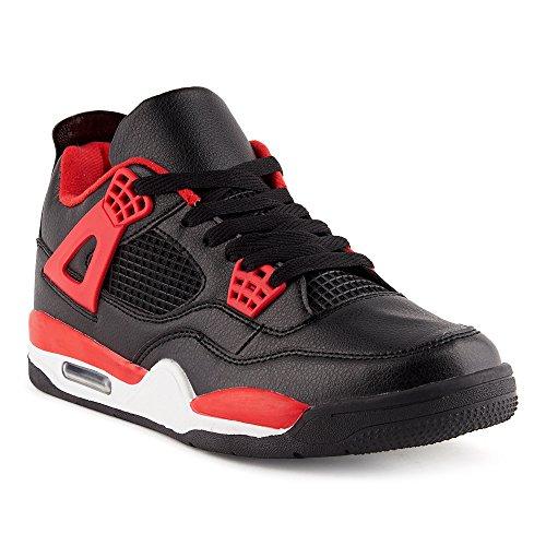 uk availability bc03f 384c2 FiveSix Herren Sportschuhe Low Top Sneaker Basketballschuhe Velours-Optik  Freizeitschuhe Schuhe Schwarz Rot EU 42
