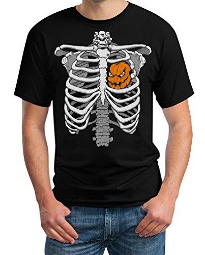 t Kürbis Halloween T-Shirt Large Schwarz (Halloween Brustkorb)