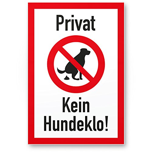 Privat–kein Hundeklo/pas de chien Toilette–Panneau chien T-shirt Panneau d'interdiction interdit–Panneau d'interdiction/chien, des crottes de chien/de chien/tas de chien/chien kacke
