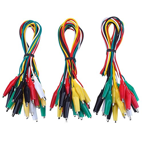 DollaTek 30Pcs Test Leads mit Krokodilklemmen Set Isolierte Test Kabel Double-Ended Clips, 19.7 Zoll