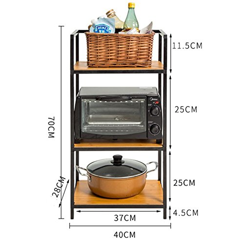 PENGFEI Cupboard Organizers Kitchen Storage Rack Corner Tray Shelf Microwave Oven Pot Utensils Condiment Multifunction Storage Black, Iron, 3 Floors 3 Sizes strong and sturdy (Size : 40*28*70cm)