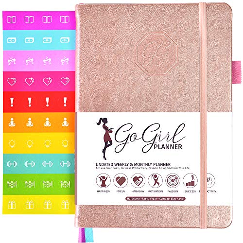 GoGirl Planner - Goal Planner & Organizer for Women - Undated (Rose Gold (Undated), Compact (5.3