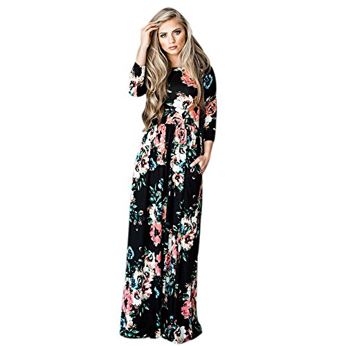 Culater® Femmes Floral Print long Sleeve Boho robe Ladies soirée Long Maxi Robe Noir