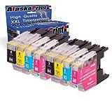 Premium 8er Set Druckerpatronen Kompatibel für Brother LC-1240 / LC-1220 / LC-1280 XL für DCPJ525W MFCJ430W MFC-J5910DW DCP J925DW MFC-J825DW MFCJ6510DW MFCJ835DW MFCJ625DW J725DW MFCJ6910DW MFC6710 Patronen (Schwarz , Cyan , Magenta , Gelb) 8xLC-1240-Brother