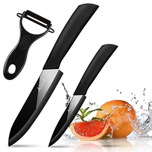 Aicok Keramikmesser Set Spiegelfläche, Küchenmesser Set Für Obst Gemüse, 2-teilig Messer und Gemüse Peeler Küchenwerkzeug Set