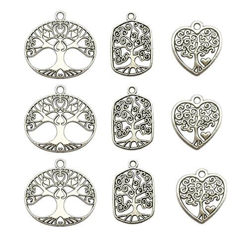 Albero della Vita albero ciondoli collection- 60PCS bricolage argento antico, ciondoli per fai da te, gioielli risultati di per fai da te a mano collana bracciale