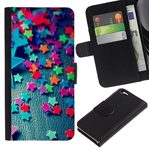 Graphic4You Niedlich Plastic Stars Design Brieftasche Leder Hülle Case Schutzhülle für Apple iPhone 6 / 6S Design #10