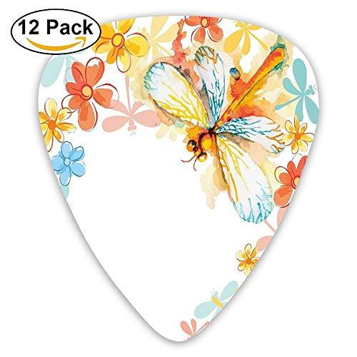 Abstract Grunge Vintage Design Moth With Spring Flowers Floral Frame Art Print Guitar Picks 12/Pack Set