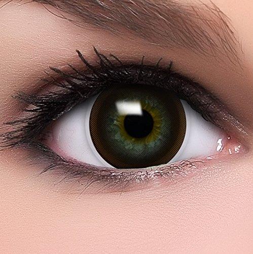 Linsenfinder Lenzera Circle Lenses braune 'Choco Brown' ohne Stärke + Kombilösung + Behälter Big Eyes 15mm farbige Kontaktlinsen
