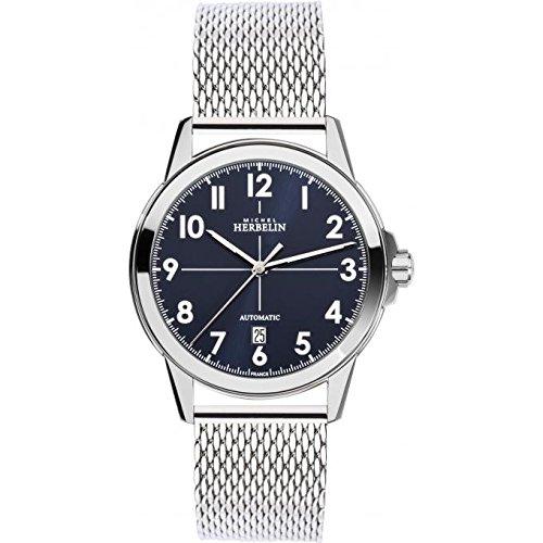 Reloj para hombre Michel Herbelin - 1650/25B - Automático - AMBASSADE - Fecha - Dial Azul Oscuro - Correa Milanese
