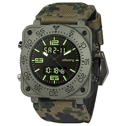 Infantry Herren Analog-Digital Armbanduhr Chronograph Datum Outdoor Alarm Nylon Band