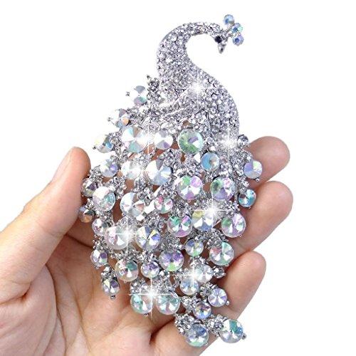 EVER FAITH® Cristal Autrichien Elégant Paon Plume Brillant Broche Pin Transparent AB(Ton Argent)
