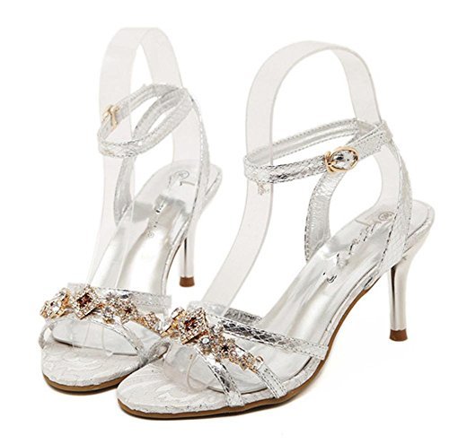 YMXJB Mode Coupe strass chaussures femmes sandales à talons hauts Silver