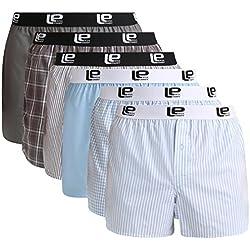 Lower East Boxers américains Hommes avec une taille élastiquée, lot de6, Bleu Clair/Gris, 3XL