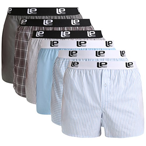 Lower East Herren American Boxershorts mit Gummibund, 6er-Pack, Mehrfarbig, L - Volcom-logos