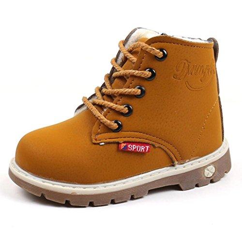 Wawer Mode Kinder Kinder Unisex Casual Warm PU Leder Zip Martin Sneaker Stiefel Schuhe für 1-6 Jahre Alt(24, Gelb) Kd 4 Kinder