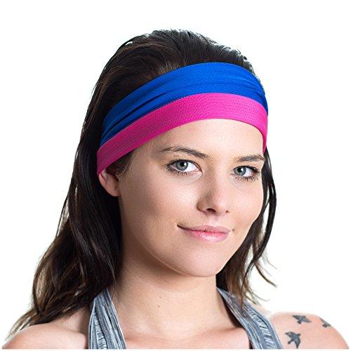 Sport-Stirnband, doppelseitig, feuchtigkeitsableitend, rutschfest - Fitness-Schweißband - Ideal fürs Fitnesstraining, Joggen, Tennis, Sport, Yoga & mehr - perfekt für aktive Frauen (Nike Taschen Für Frauen Fitness-studio)