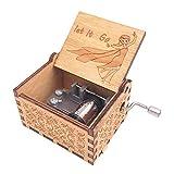 Youtang Spieluhr mit 18 Noten und Handkurbel aus Holz geschnitzt, Play Let it Go, Holz, braun, Braun