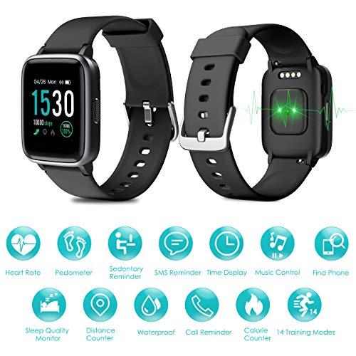 Imagen de homvilla pulsera actividad,reloj inteligente impermeable ip68 con pulsómetro monitor de sueño pulsera deportiva cronómetro contador de calorias para mujer hombre niños compatible con ios y android alternativa