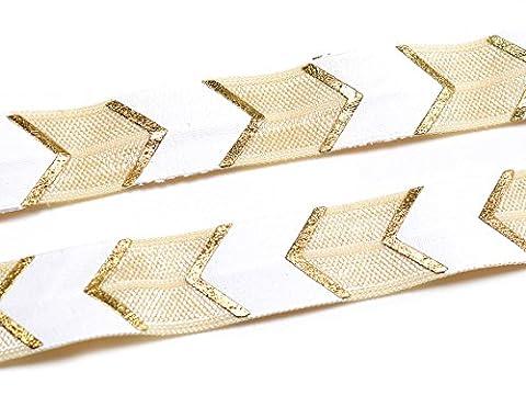 elastisches Gummiband/Faltband mit Pfeilen in weiß-beige 1 m von Vintageparts
